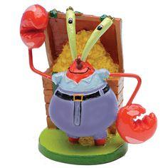 Mini Mr Krabs is a character from Sponge Bob Square Pants cartoon show, he lives in Bikini Bottom with Sponge Bob and his friends. Mr Krabs is Sponge Bobs boss at the Krusty Krab restaurant. Turtle Store, Aquarium Backgrounds, Aquarium Ornaments, Aquarium Decorations, Background Decoration, Wild Bird Food, Colorful Decor, Figurine