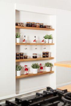 Solid Wood Kitchen Cabinets, Solid Wood Kitchens, Bright Kitchens, Oak Floating Shelves, Oak Shelves, Oak Worktops, Retro Appliances, Oak Tree, Extra Storage