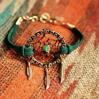 Peacock Green Suede Dreamcatcher Bracelet or Anklet Made to Order