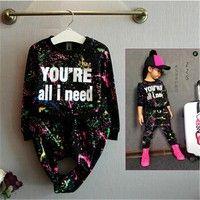 Wish | Fashion girls t shirt + Pants 2pcs/set tracksuit baby kids sport clothes set coloful letter printed children suit clothing