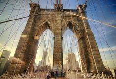 On my sabbatical in Europe, I start to miss America. This is one of my most America shots I have. The Brooklyn Bridge is one of the most beautiful bridges in the world. It is great to walk on it and once you stand in front of the big pillars, you just need to make a photo. So sorry, for showing you an perspective that has been shown so often ;-)