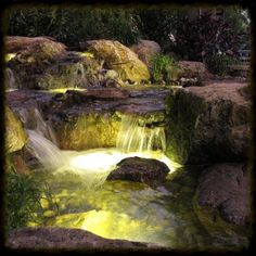 underwater led lighting, lighting, outdoor living, ponds water features, LED Lights under the waterfalls add a dramatic effect