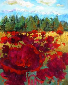 'Rhythm of your Heart' x Acrylic on Canvas by Artist Gail Johnson Landscape Art, Landscape Paintings, Oil Paintings, Rodin, Maria Emilia, Street Art, Watercolor Flowers, Painting Flowers, Red Art