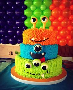 Monsters amazing cake Kid's birthday is always special for parents. So, the birthday party celebration must be grand and joyful. Red salt cuisine restaurant, WSM, Mohan Nagar welcomes each one of you to celebrate the bi… Monster Birthday Cakes, Boys First Birthday Party Ideas, Little Monster Birthday, Monster 1st Birthdays, Monster Birthday Parties, Birthday Party Celebration, Baby Boy Birthday, First Birthday Cakes, 1st Birthday Boy Themes