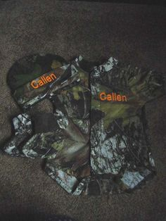 Mossy Oak Camo Camouflage 3PC Baby Infant Newborn Set Personalized Boy or Girl. $29.99, via Etsy.