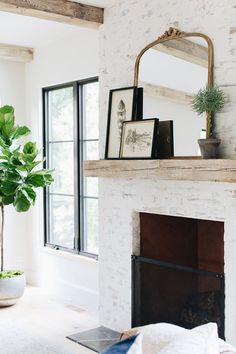 Brick Fireplace Makeover, Fireplace Design, Fireplace Ideas, Fireplace Mirror, Modern Fireplace Decor, Fireplace With Wood Mantle, Painting Fireplace, White Wash Brick Fireplace, Farmhouse Fireplace Mantels