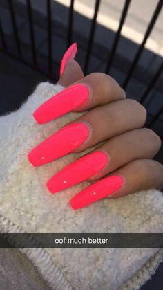 Hot Pink Nail Designs Ideas summer nail designs hot pink confession of rose Hot Pink Nail Designs. Here is Hot Pink Nail Designs Ideas for you. Hot Pink Nail Designs hot pink nailz and bling pink nails pink bling nails. Coral Acrylic Nails, Acrylic Nails Natural, Nails Yellow, Best Acrylic Nails, Acrylic Nail Designs, Bright Pink Nails, Neon Orange Nails, Natural Nails, Acrylic Summer Nails Coffin