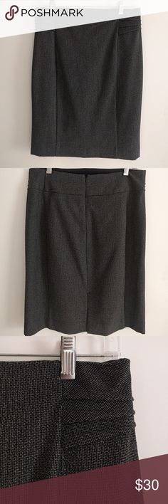Dark Gray Pencil Skirt Only worn twice - perfect for the office - flattering lines - super cute pleating detail at the top Express Skirts Pencil