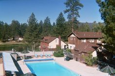 A view from the top of Mallard Bay Resort in Big Bear Lake, California.