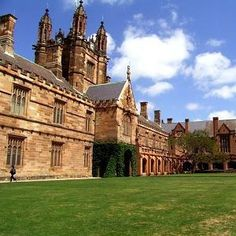 The University of Sydney, Australia. The oldest university in Australia, the engaging Sydney University campus is spread across two suburbs. Architecture ranges from modern to Neogothic, the style of the Quadrangle and Great Tower buildings seen here. University Of Sydney, Best University, University Professor, Australia Visa, Sydney Australia, Monuments, Study Abroad Australia, Education In Australia, Road Trip