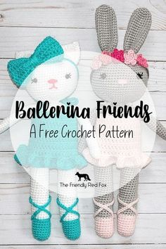 A FREE crochet pattern for a couple different darling ballerina animal friends! A ballerina kitty cat and a ballerina bunny. So cute!! Would make as a great birthday gift, an Easter Basket or any occasion!
