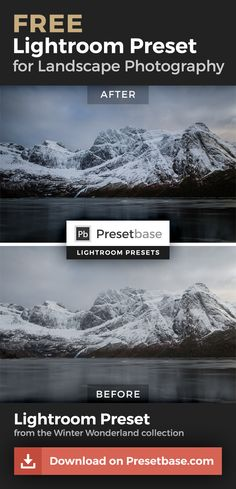 Amazing FREE Lightroom Preset for your Winter landscape photos. More free presets on www.presetbase.com