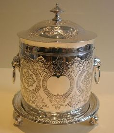 antique english silver plate plated biscuit barrel box cookie jar victorian engraved lion's handles