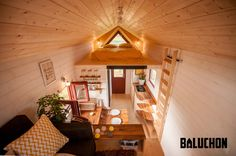 A beautiful tiny house on wheels, named the Odyssee, by French tiny house company, Baluchon. Tiny House Company, Tiny House Blog, Tiny House On Wheels, Tiny House Layout, Tiny House Design, House Layouts, Rustic Color Schemes, Green Design, Tiny House Big Living