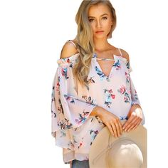 New Floral Blouses !! Now Available !! Off Shoulder Spaghetti Strap Ruffle Hem CREAM Blouse - CoolTrendyStuff
