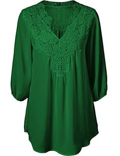 afdbb45957c Sexyshine Womens V Neck 34 Sleeve Chiffon Lace Hollow Out Loose Tops  BlouseGreen2XL