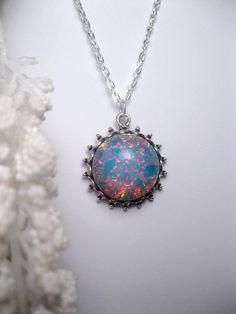 Fire Opal Necklace  Opal Pendant  Silver by FashionCrashJewelry