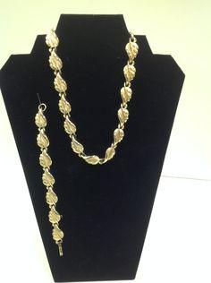 1970s Vintage Coro Signed Goldtone Leaf Choker Style Necklace and Bracelet Set by GrandmaRietas on Etsy