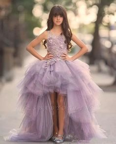 Princess Lavender High Low Flower Girl Dresses Tulle Puffy Girl Pageant Dresses Kids Evening Gowns Prom Dress For Girls Girls Pageant Dresses, Pageant Gowns, Girls Party Dress, Wedding Party Dresses, Party Gowns, Prom Dresses, Glitz Pageant, Dress Vestidos, Dress Party