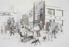 Charles Avery Untitled (Expedition) 2012 Acrylic, ink, pencil and gouache on paper 158 x 218 cm Collage Drawing, Drawing Artist, Invisible Cities, Conceptual Art, Art Sketchbook, Artist At Work, Monochrome, Modern Art, Cool Art