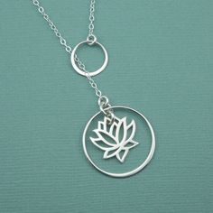 Crescent Lotus Lariat Necklace sterling silver by TheZenMuse, $48.00