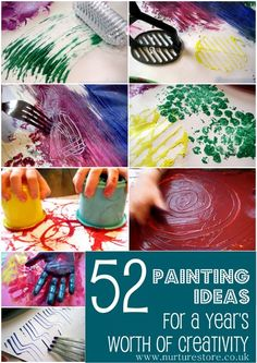 52 kids painting ideas: full of interesting ideas for a whole year's worth of creativity with your kids. Love it! Keeping this for ideas :)