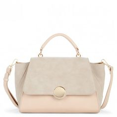 Cream Combo Structured Satchel W/ Circle Closure | Keyon | Free Shipping on Orders $50+