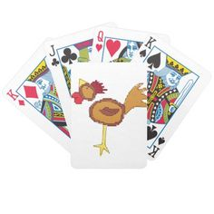 cross stitch style chicken pack of cards