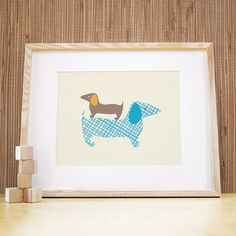 Nursery Art 11x14 Stacked Dogs  Blue/Grey by trendypeas on Etsy, $29.00