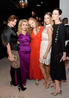 Gathered around: (From left) Jasmine Guinness, Paloma Faith, Lily Cole, Amber LeBon and Er. Amber Le Bon, Paloma Faith, Lily Cole, Satin Gown, Bridesmaid Dresses, Wedding Dresses, Simple Style, Daughter, Glamour
