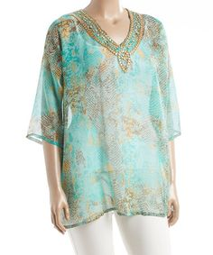 Another great find on #zulily! Aqua Embellished Snake V-Neck Tunic - Plus #zulilyfinds
