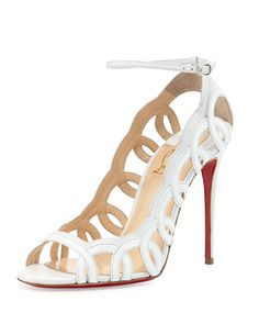 Women\u0026#39;s Christian Louboutin \u0026#39;Youpiyou\u0026#39; Metallic Leather Sandal, 4 ...