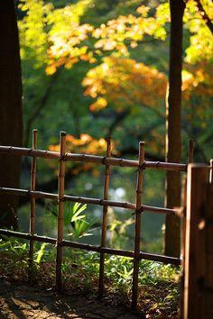 Bamboo fence in Shin Edogawa Park, Tokyo, Japan <=> système utilisé pour… Backyard Fences, Garden Fencing, Backyard Landscaping, Bamboo Fence, Flower Beds, Garden Inspiration, Outdoor Gardens, Garden Design, Landscape