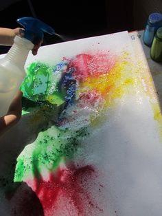 Colorful sprinkle painting from Teach Preschool