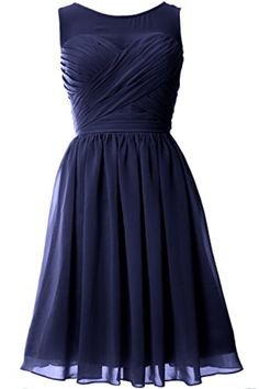 MACloth Women O Neck Short Chiffon Bridesmaid Dress Formal Evening Party  Gown (6, Dark