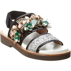 Marni Marni Fussbett Glitter & Patent Sandal (394924701) (3.440 RON) ❤ liked on Polyvore featuring shoes, sandals, black, black jeweled sandals, black ankle strap sandals, black platform shoes, embellished sandals and black patent leather sandals