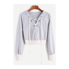 SheIn(sheinside) Contrast Ribbed Trim Hooded Lace Up Crop Sweatshirt ($19) ❤ liked on Polyvore featuring tops, hoodies, sweatshirts, grey, long-sleeve crop tops, hooded pullover sweatshirt, hoodie sweatshirts, long sleeve tops and grey sweatshirt