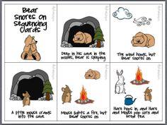 Bear Snores On – Sequencing cards for retelling, English Preschool Literacy, Preschool Lessons, Kindergarten Activities, Classroom Activities, Book Activities, Bears Preschool, Kid Activites, Sequencing Activities, Sensory Activities