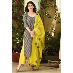 On huge demand Restocked again Cotton kurti pant and malmal dupatta 38 to 44 sizes For details msg on messenger or whatsapp grey and green cotton suit set Indian Attire, Indian Wear, Indian Dresses, Indian Outfits, Kurtis With Pants, Suits For Women, Clothes For Women, Churidar Designs, Indian Designer Suits