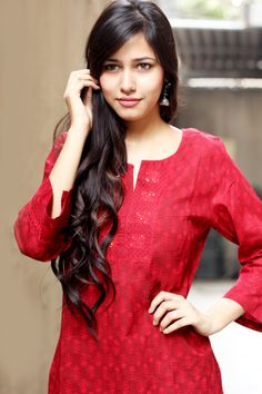 #red #kurta #printed