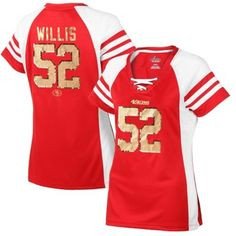 01b4c83dfe6 Majestic Patrick Willis San Francisco 49ers Women s Scarlet Draft Him IV T- Shirt