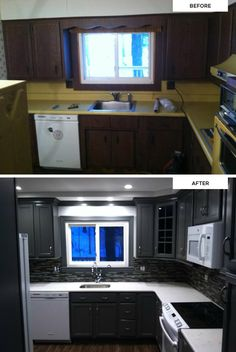"Fan photos from Rebecca at Beck Contracting, LLC., who shares ""What an update from the '60s-'70s look before! Our client is thrilled with her new KraftMaid kitchen!"" (Maple cabinets in Greyloft)"