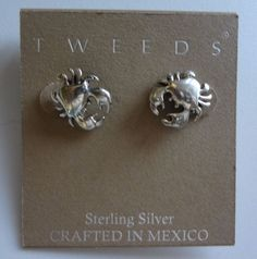 Tweeds Sterling Silver Crab Earrings NWT Crafted In Mexico Compare At $32.00  #Tweeds #Stud