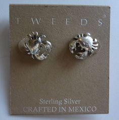 Tweeds Sterling Silver Crab Earrings NWT Crafted In Mexico Butterfly Stud #Tweeds #Stud