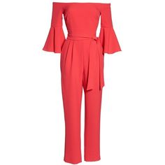 Women's Eliza J Off The Shoulder Jumpsuit (520 RON) ❤ liked on Polyvore featuring jumpsuits, tailored jumpsuit, eliza j jumpsuit, red jumpsuit, off the shoulder jumpsuit and bell sleeve jumpsuit