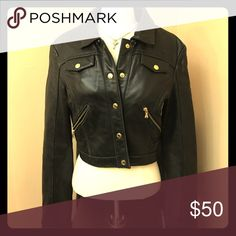 Baby Phat 100% Genuine Leather Cropped Jacket Black with gold hardware. 100% GENUINE LEATHER!!! Interior is 100% Polyester. Shows some wear, but still had a LOT of life left! Baby Phat Jackets & Coats
