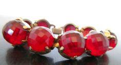 Vintage Rhinestone Cuff Bracelet Huge Faceted by nanascottagehouse