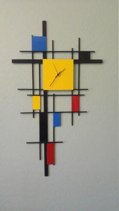 New Mondrian Style Clock. Welded metal, Signed by the Artist. : New Mondrian Style Clock. Welded metal, Signed by the Artist. Piet Mondrian, Mondrian Kunst, Mondrian Dress, Mondrian Art Projects, Famous Artists Paintings, Decoration Bedroom, Art Decor, Home Decor, Clock Art