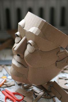 Cardboard Mask, Cardboard Sculpture, Paper Mache Sculpture, Cardboard Crafts, Sculpture Art, Paper Crafts, Sculpture Ideas, Paper Mask, Masks Art