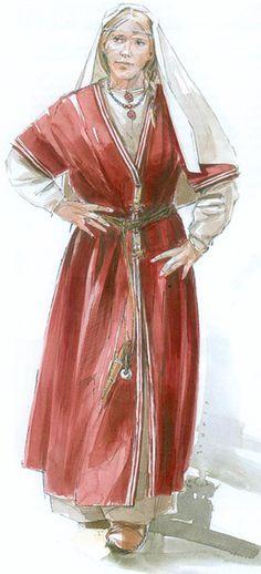 Tombes (Saint-Dizier, France). La Dame au collier d'ambre: la dame de la sépulture 12 portait un collier de perles en ambre et en verre. 70 autres perles de formes et matières variées ornaient sa poitrine. A sa main droite brillait une bague en or sertie de grenats. Un bracelet d'argent était passé à son poignet gauche.